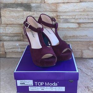 """Top Moda Woman's heels…color """"wine""""…worn twice"""